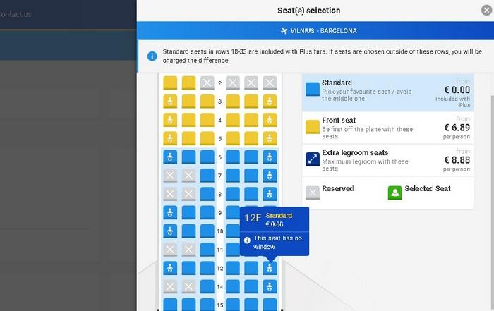 выбор места Ryanair