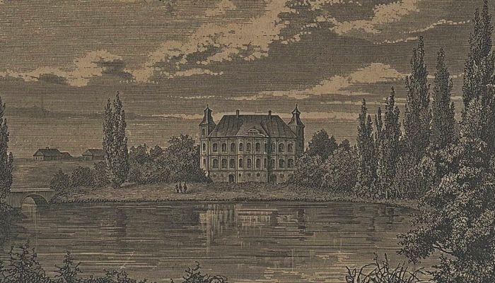 Старое фото дворец Радзивиллов в Дятлово