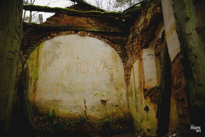 Руины часовни усыпальницы в Маньковичах